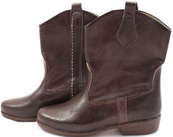WISSANE brown leather ankle boots