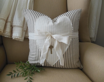 French Ticking Stripe Heart Pillow Cover. Country Farmhouse Stripe Pillow. Handmade Ticking and Heart Pillow Cover. Key To My Heart Pillow.