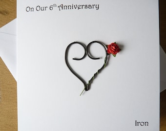 6th wedding anniversary card iron 6 years marriage