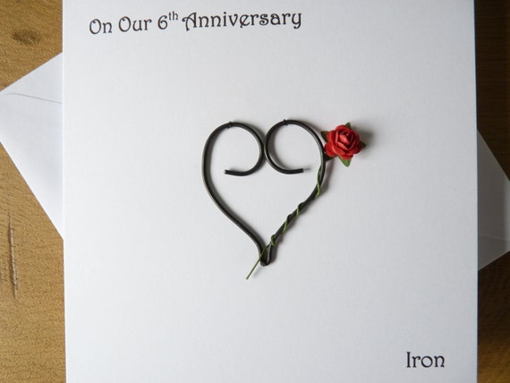 Six Year Wedding Anniversary Gift Ideas: 6th Wedding Anniversary Card Iron 6 Years Marriage