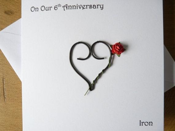 Wedding Anniversary Gifts 6 Years: 6th Wedding Anniversary Card Iron 6 Years Marriage