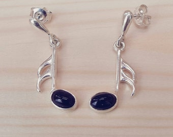 Marlow Music Note Earrings, Sterling Silver, Music Note Earrings, Music Jewelry, Silver Music Earrings, Silver Music