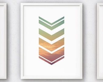 Colorful Wall Art, Printable Arrow Art, Rainbow Art, Chevron Decor, Office Decoration, 18x24, Pink Green Yellow, Dorm Wall Art, Sunset Print