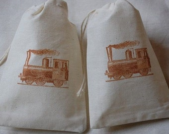 10 Vintage Train muslin cotton party favor bags 4x6 inch - great for birthday parties - goodie bags, cotton pouch, favor bags, gift bags