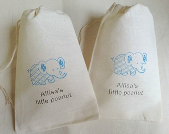 10 Cute Personalized Baby Shower Elephant Little Peanut muslin cotton party favor bags 4x6 inch - you choose ink color