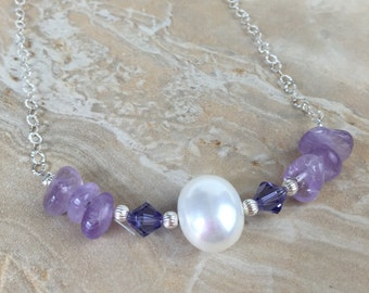 Swarovski Crystal, Amethyst, Pearl and Sterling Silver Necklace - FREE SHIPPING