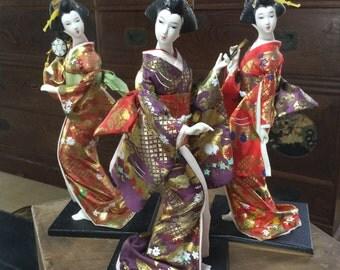 Japanese Kimono GEISHA dolls (3/set)