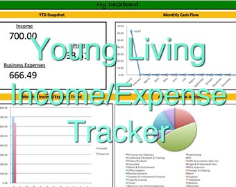 Young Living Essential Oils Income/Expense Tracker, 2016 Monthly Cash Flow Spreadsheet, User-Friendly Profit & Loss System, Excel Template