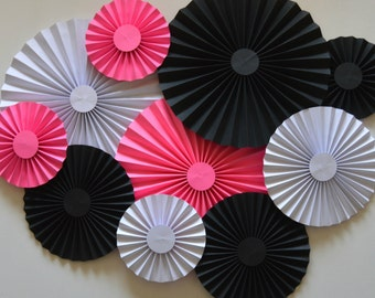 Pink, Black and White Rosettes, Paper Fans, Pinwheels, BackDrop, Photo Prop, Party Decoration