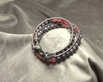 This is one of a kind stone leather wrap bracelet, chan luu style fashion, beautiful bohemian wrap beaded bracelet