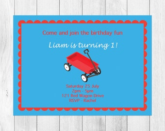 Red Wagon Birthday Invitation