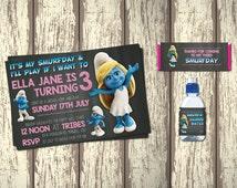 Smurfette Invite Birthday Package - PRINTABLE Invite / Chocolate Wrap Around / Water Label