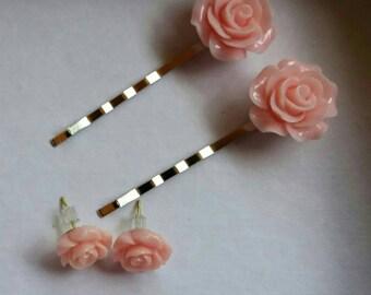 Rose Earrings & Bobby pins set; Resin