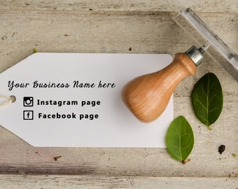 Business Name and Social Media Links Rubber Stamp