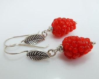 Red  Raspberry  Lampwork  earrings  Karen Hill Tribe Silver Leaf Head EarWire  Lampwork Jewelry