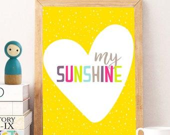 nursery sunshine print, Sunshine Wall Print, colorful nursery wall print,Minimalist Typography Quote Art, Yellow, Modern Yellow Art, Artwork