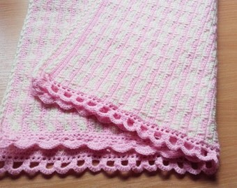Crochet Baby Blanket Pink with Cream