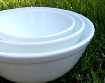 Set of Mosser Nesting Milk Glass Bowls