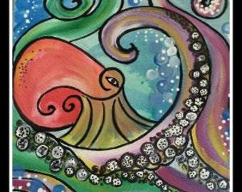 "12x12 original canvis painting ""octopus"""