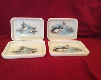"""Pyrex JAJ Wildfowl Set of 4 Snack or Butter Trays 4 3/4""""x 5 1/4"""""""