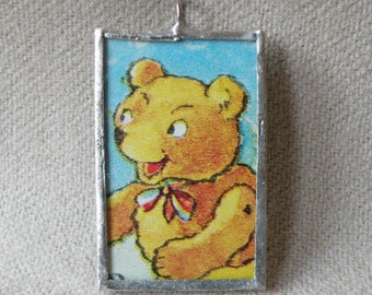 Teddy Bear and Naughty Monkey - 2 Sided - Handmade Soldered Glass Pendant with Vintage Illustrations