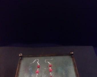 Red berry drop earrings
