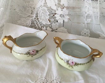 Antique Imperial Austria China Sugar and Creamer 1914-1918 Subtle Pink and Green with Roses and Gold trim...Perfect for your next Tea Party