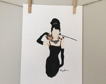 """9x12"""" original Audrey Hepburn watercolor"""