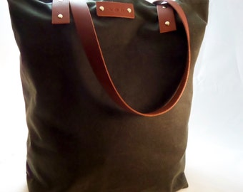 Waxed Canvas Tote Market Bag with Leather Handles