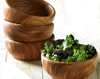 Set of 4 Individual Olive Wood  Bowls 3.9 inches each