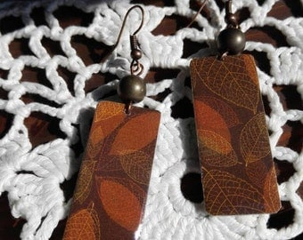 Brown autumn leaf aluminum earrings