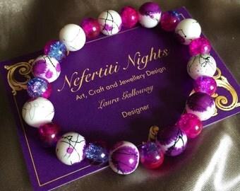 Bold Summer Sparkle themed beaded stretch bracelet
