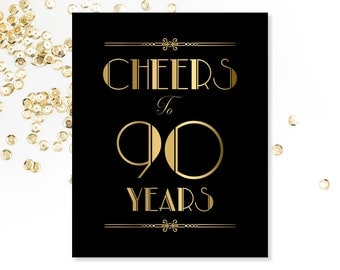 Cheers To 90 Years, 90th Birthday Sign, PRINTABLE Sign. 90th Birthday Decorations, Printable 90th Birthday Decor, Gold Birthday Sign