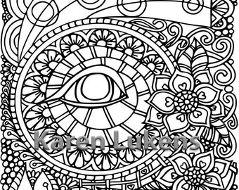 Evil Eye Protection, 1 Adult Coloring Book Page, Printable Instant Download, Karen Lukens