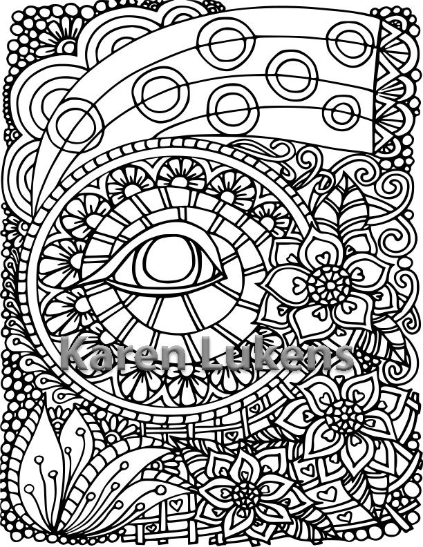Evil Eye Protection 1 Adult Coloring Book Page Printable