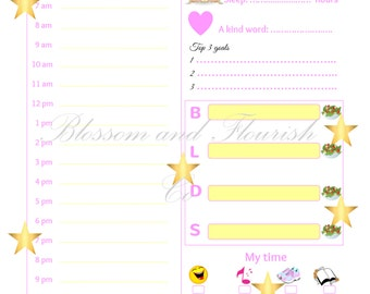 J'adore golden stars daily self-care planner| Instant download
