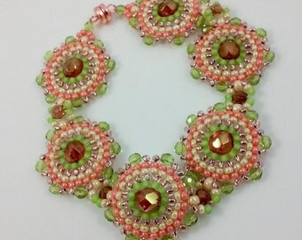 Seed Bead Medallion Bracelet (beadweaving - peach, chartreuse, and cream seed beads with topaz and sparkly peridot green fire polished beads