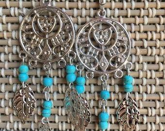 Dream Catcher Earrings-Turquoise