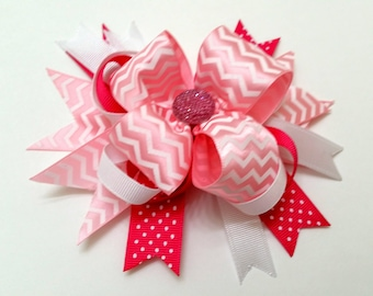 Lrg Pink Combination Bow (Zig zag/Polka dot)