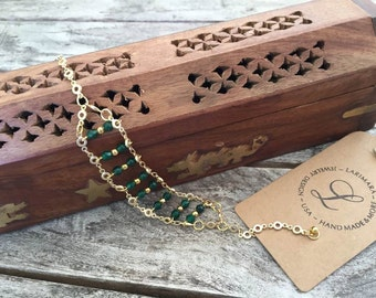Natural Emerald Chain Bracelet May Birthstone