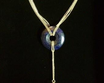 Lapis Lazuli & Antique Fusee Pocket Watch Part Necklace