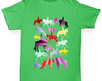 Girl's Dressage Rainbow Collage T-Shirt