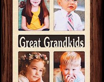 5x14~GREAT GRANDKIDS Picture Frame Holds 8-2x3 wallet Photos ~ Gift for Great Grandma, Great Grandpa, Great Grandparents or Great Grandkids