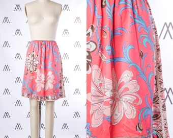 1970s Pucci Pink Floral Print Skirt