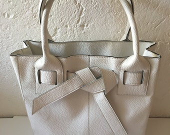 White synthetic leather bag