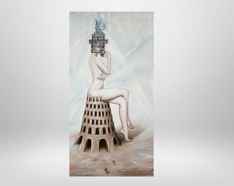 Female nude, mobile, universe, Tower, Tower, original oil painting, surrealism, unique, fantasy, symbolism, painting, painting. Figures