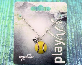 Customized Enamel Softball Second Base Necklace - Personalize with Number, Heart, or Letter Charm! Great Softball Gift!