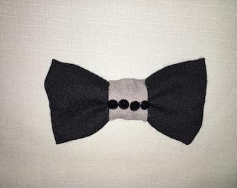 Black/Gray Clip On Bow Tie
