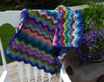 Baby Blanket, Crocheted Blanket, Rainbow