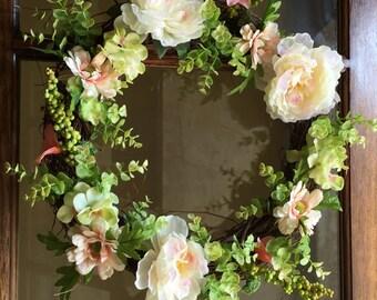Spring Wreath, Summer Wreath, Floral Wreath, Farmhouse Wreath, Indoor Wreath, Greenery Wreath, Wedding Wreath